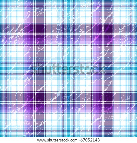 Repeating violet-blue-white grunge checkered pattern (vector EPS 10) - stock vector
