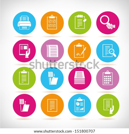 report and document icons, round button set - stock vector