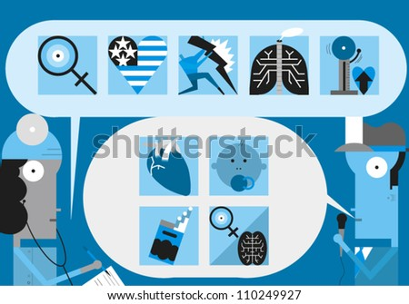 Reporter interviews female doctor regarding various issues related to health care - stock vector