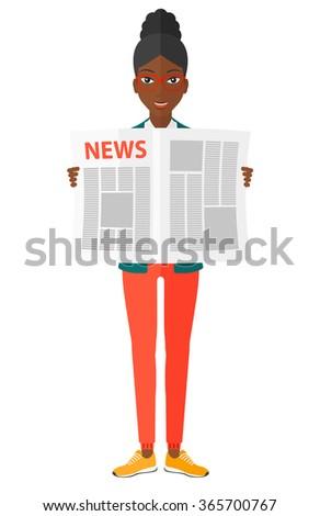 Reporter reading newspaper. - stock vector
