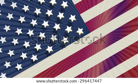Represent United State of America with USA flag for design element. This vector file is organized in layers to separate Graphic elements from white stars, shadows stars, halo and flag. - stock vector