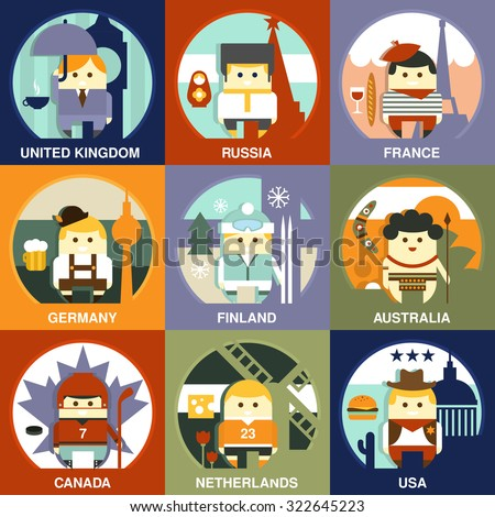 Representatives of different nationalities from different countries on the traditional background in national clothes. Vector illustration in flat style collection - stock vector