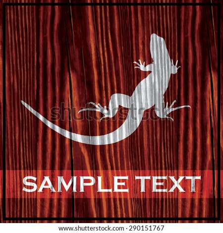 Reptile silhouette painted on wooden board with white paint - stock vector