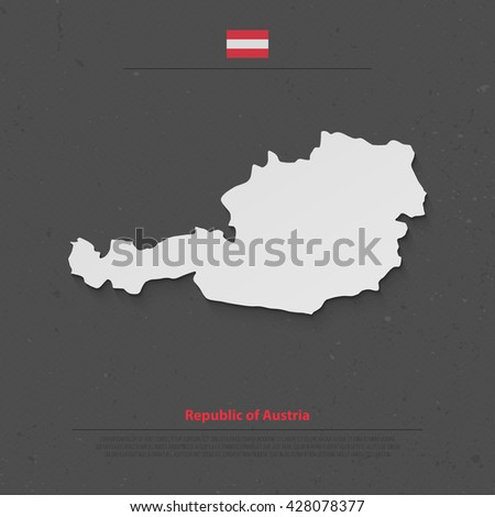 Republic of Austria isolated map and official flag icons. vector Austrian political map flat style illustration. European country geographic banner template  - stock vector