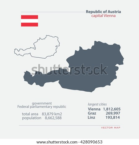 Republic of Austria isolated maps and official flag icon. vector Austrian political map icons with general information. European country geographic banner template  - stock vector