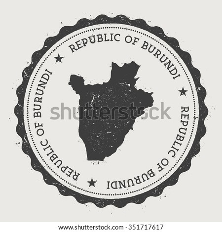 Republic of Burundi. Hipster round rubber stamp with Burundi map. Vintage passport stamp with circular text and stars, vector illustration - stock vector