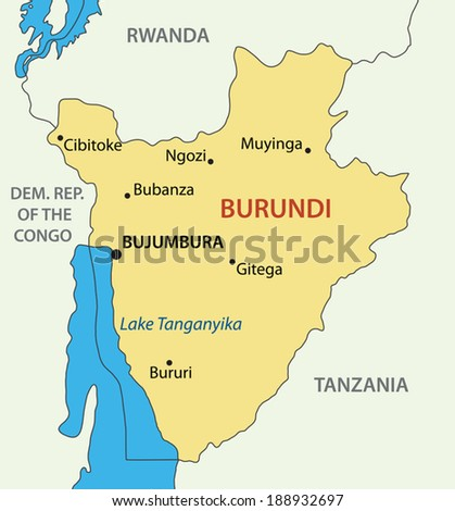 Republic of Burundi - vector map - stock vector