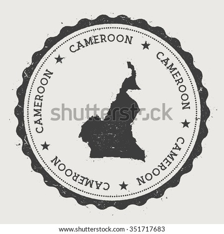 Republic of Cameroon. Hipster round rubber stamp with Cameroon map. Vintage passport stamp with circular text and stars, vector illustration - stock vector