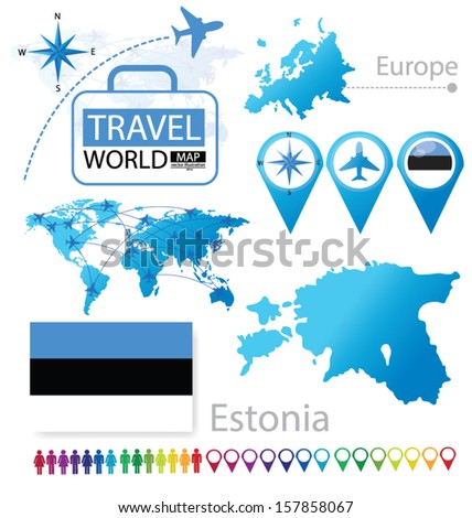 Republic of Estonia. flag. World Map. Travel vector Illustration. - stock vector