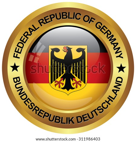 republic of germany icon in english and german language - stock vector