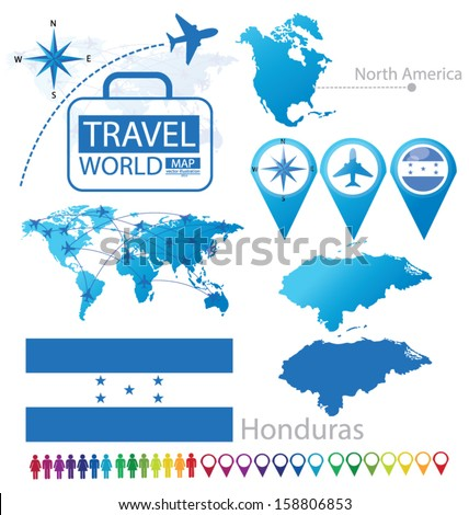 Republic of Honduras. flag. North america. World Map. Travel vector Illustration. - stock vector