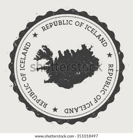 Republic of Iceland. Hipster round rubber stamp with Iceland map. Vintage passport stamp with circular text and stars, vector illustration - stock vector