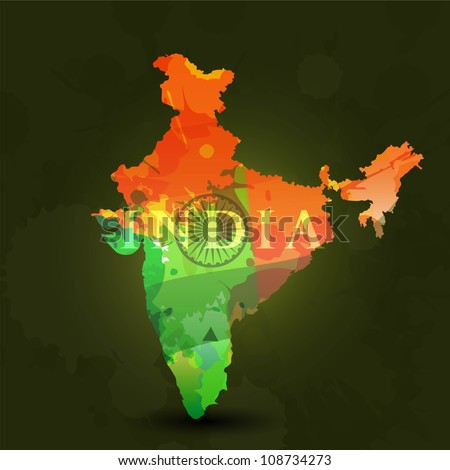Republic of India map in Indian Flag color. EPS 10. - stock vector