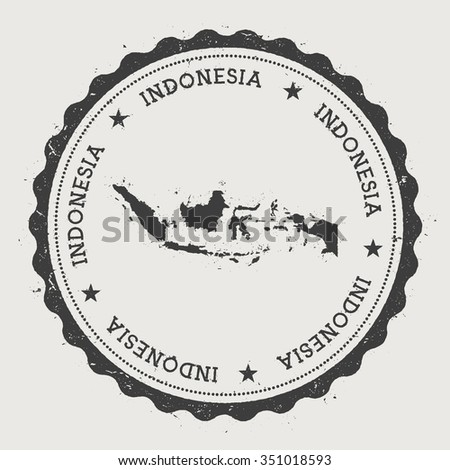 Republic of Indonesia. Hipster round rubber stamp with Indonesia map. Vintage passport stamp with circular text and stars, vector illustration - stock vector