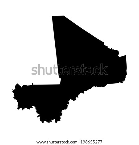 Republic of Mali vector map isolated on white background silhouette. High detailed illustration.  - stock vector
