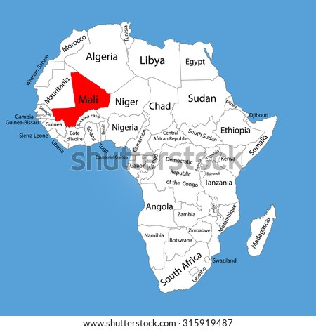 Republic of Mali vector map silhouette isolated on Africa map. Editable vector map of Africa. - stock vector