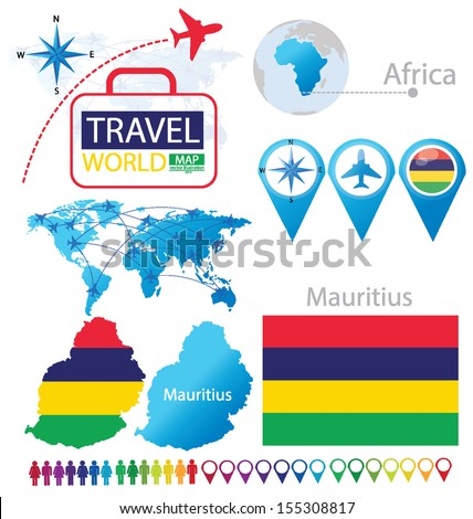 Republic of Mauritius. flag. World Map. Travel vector Illustration. - stock vector