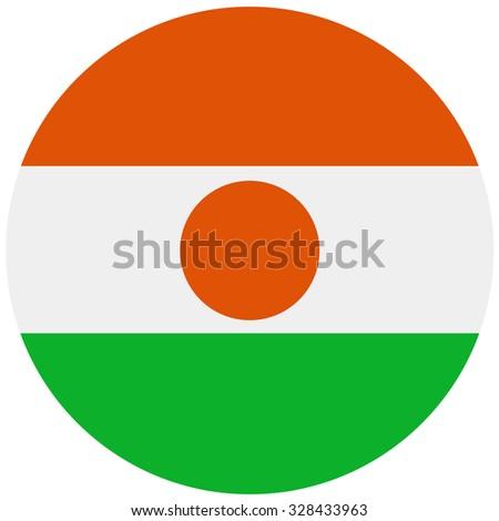 Republic of niger flag vector illustration. Round national flag of  niger. Nigerian flag high detailed - stock vector