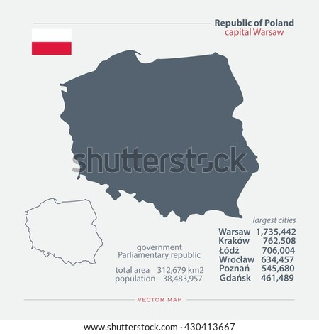 Republic of Poland isolated maps and official flag icon. vector Polish political map icons with general information. European country geographic banner template. vector Poland maps. Infographics icons - stock vector