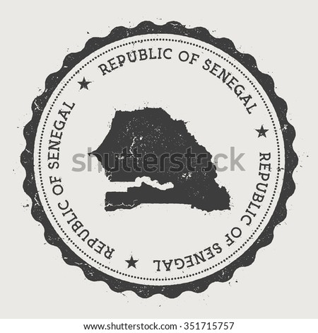 Republic of Senegal. Hipster round rubber stamp with Senegal map. Vintage passport stamp with circular text and stars, vector illustration - stock vector