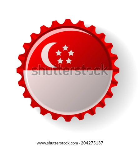 Republic of Singapore on bottle caps - stock vector