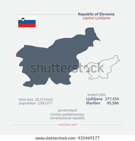 Republic of Slovenia isolated maps and official flag icon. vector Slovene political map icons with general information. European country geographic banner template - stock vector