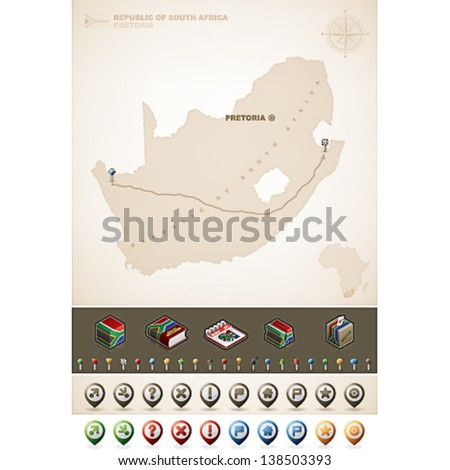 Republic of South Africa and Africa maps, plus extra set of isometric icons & cartography symbols set - stock vector