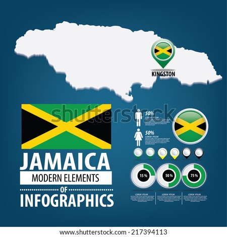 Republic of the Jamaica. flag. Travel vector Illustration. infographic world travel - stock vector