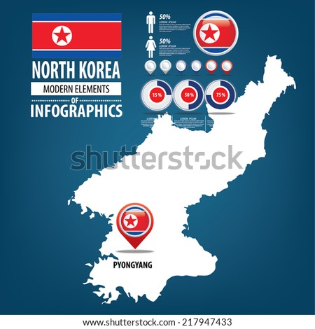 Republic of the North Korea. flag. Travel vector Illustration. infographic world travel - stock vector