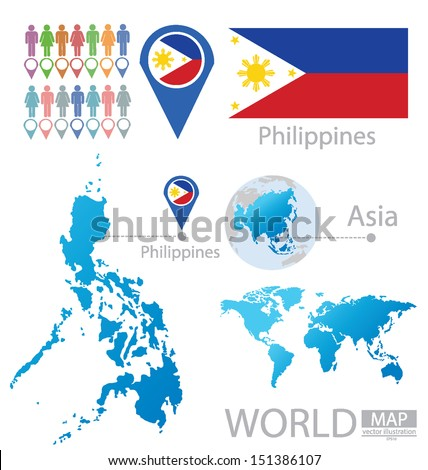 Republic of the Philippines. flag. Asia. World Map. vector Illustration. - stock vector