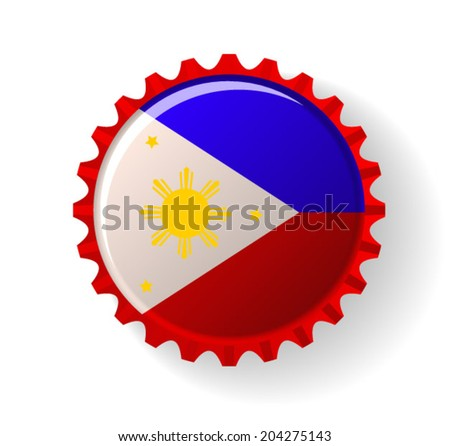 Republic of the Philippines on bottle caps - stock vector