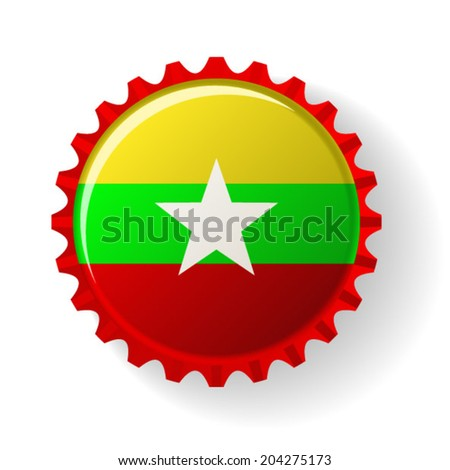 Republic of the Union of Myanmar on bottle caps - stock vector