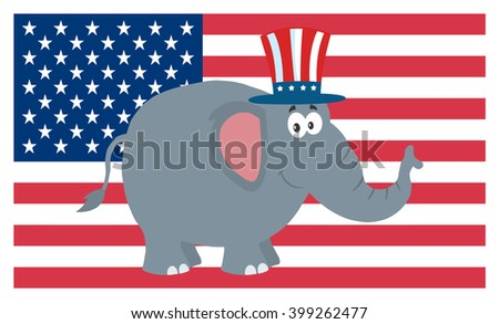 Republican Elephant Cartoon Character With Uncle Sam Hat Over USA Flag. Vector Illustration Flat Design Style - stock vector