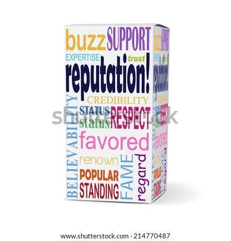 reputation word on product box with related phrases - stock vector