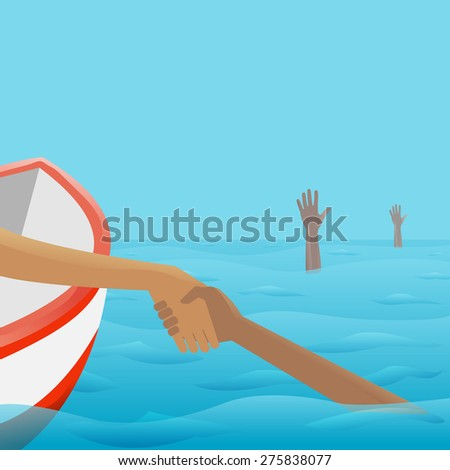 Rescue of Drowning. Vector Illustration for banners, card and posters - stock vector
