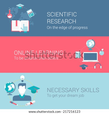 Research and development concept flat icons set of scientific research online learning necessary skills and vector web illustration website click infographics elements collection - stock vector