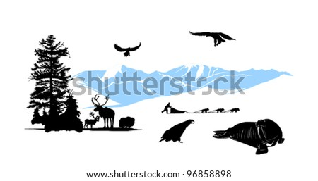 Reservation with winter animals on the snow mountains background - stock vector