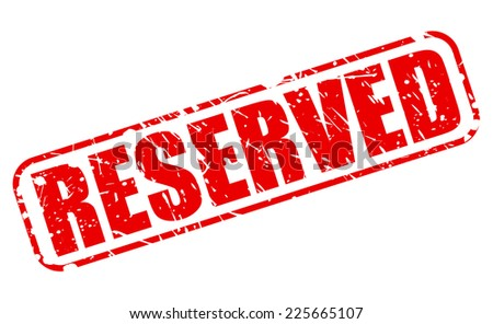 Reserved red stamp text on white - stock vector