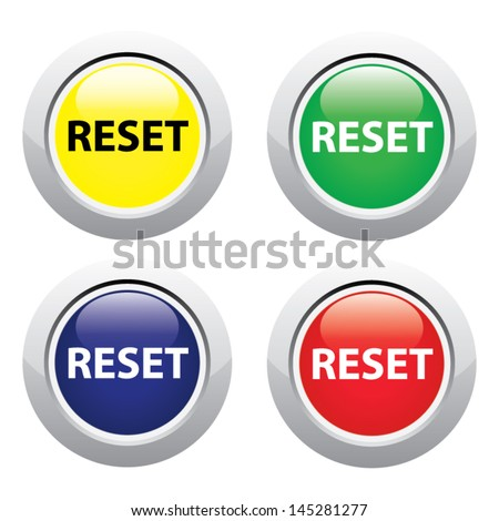 Reset button illustration isolated on white. Vector - stock vector