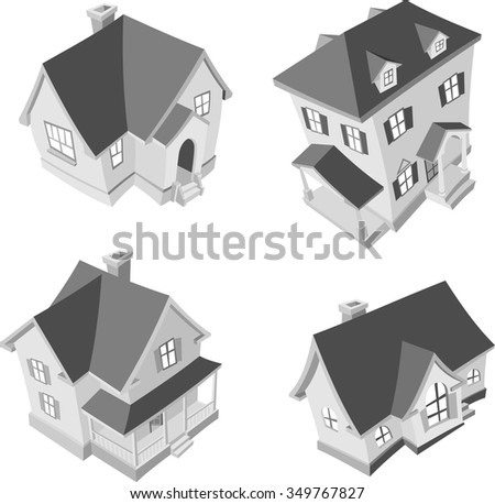 Residence Cartoon 3D-Three dimensional set of American inspired homes - stock vector
