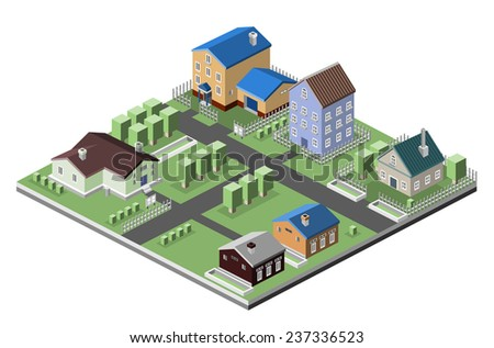 Residential house 3d buildings isometric neighborhood real estate concept vector illustration - stock vector