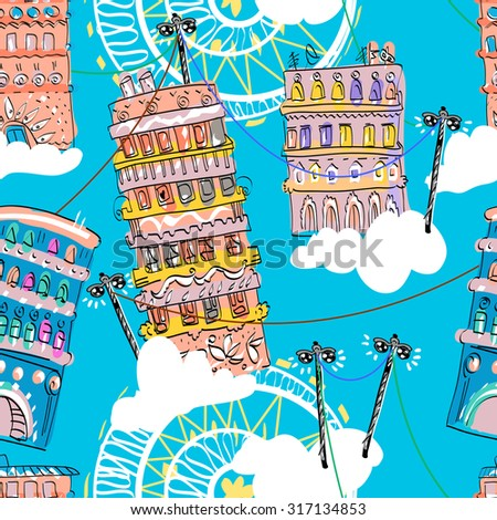 Residential Houses vector pattern. Cartoon city with endless lamp wires and cloud. Fun sky town - stock vector
