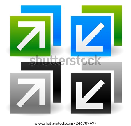 Resize Icons with Arrows - Minimize, Maximize, Increase, Decrease in Size. Arrows pointing inside and outside. (Enlarge, Extend, Expand, Narrow, Lessen, Shrink or similar concepts.) - stock vector