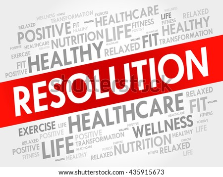 RESOLUTION word cloud background, health concept - stock vector