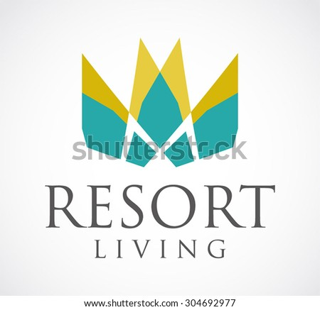 Resort living hotel natural abstract vector logo design template business art property icon company identity symbol concept - stock vector