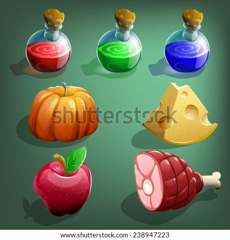 Resource icons for games. Food and potions. Vector illustration. - stock vector
