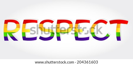 Respect stylized word with rainbow. Respect word - stock vector
