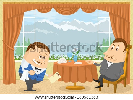 Respectable gentleman sitting in a restaurant with Mountain View near the table while waiter with a bow gives him menu, funny cartoon illustration. Vector - stock vector