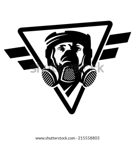 Respirator mask on the man's face - stock vector