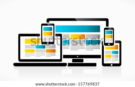 Responsive and scalable web design vector illustration  - stock vector